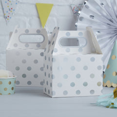 Silver Foiled Polka Dot Party Boxes - The Sweet Hostess  - 1