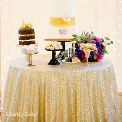 Sparkly Gold Sequin Table Linen - The Sweet Hostess