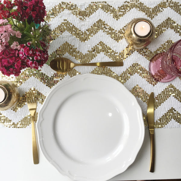 Sparkly Gold Chevron Sequin Table Runner