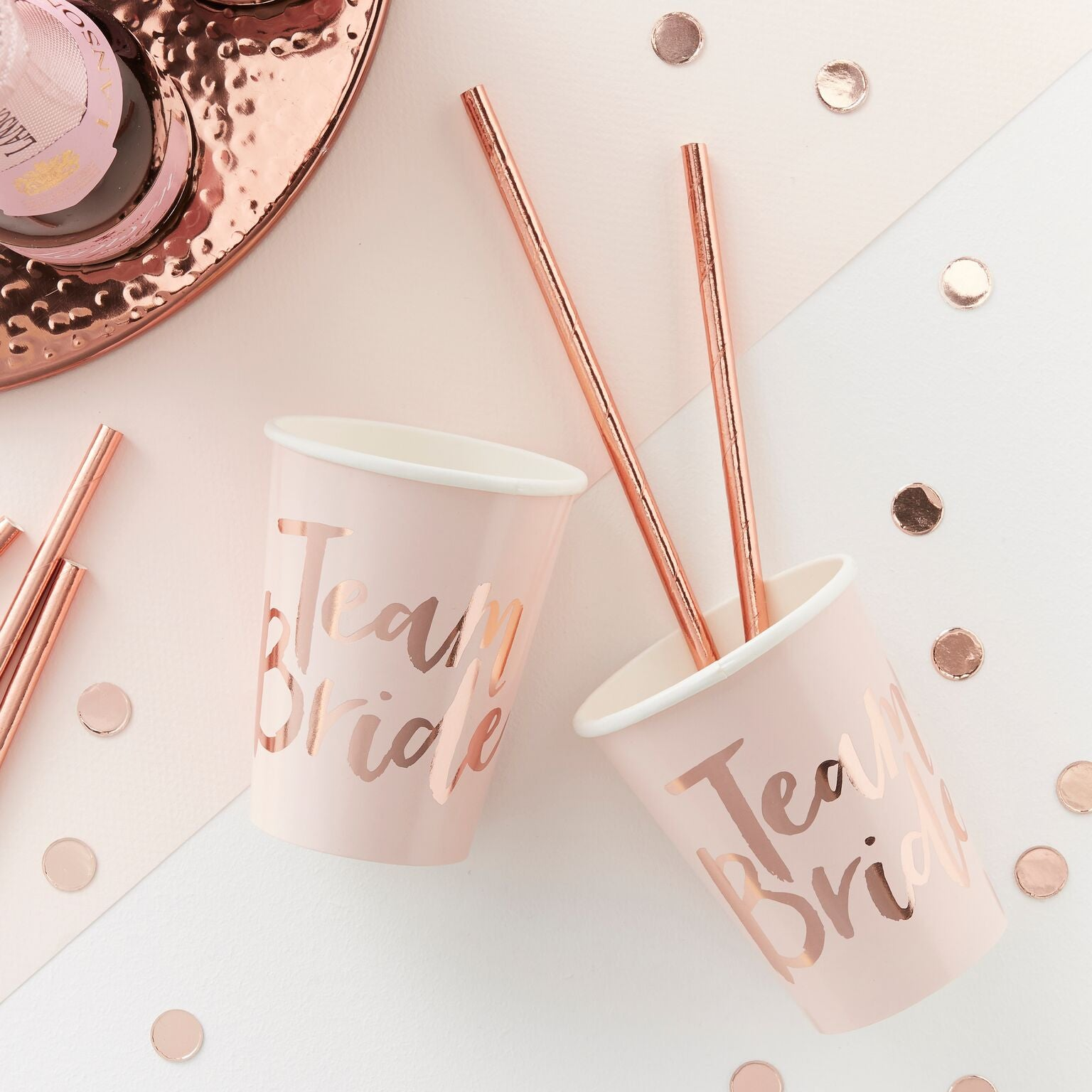 Pink And Rose Gold Foiled Team Bride Cups