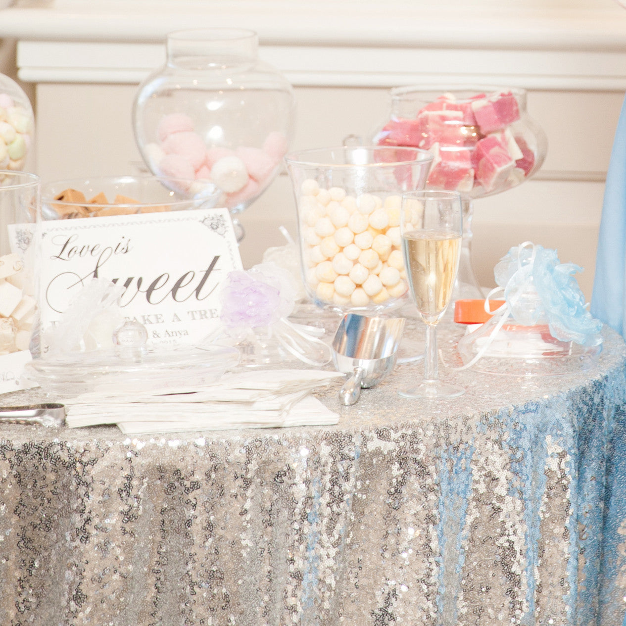 Silver Sequin Table Linen - The Sweet Hostess