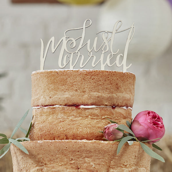 Wooden Just Married Script Cake Topper