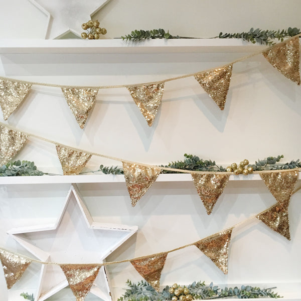 Antique Gold Sequin Bunting