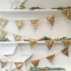 Antique Gold Sequin Bunting - The Sweet Hostess  - 1