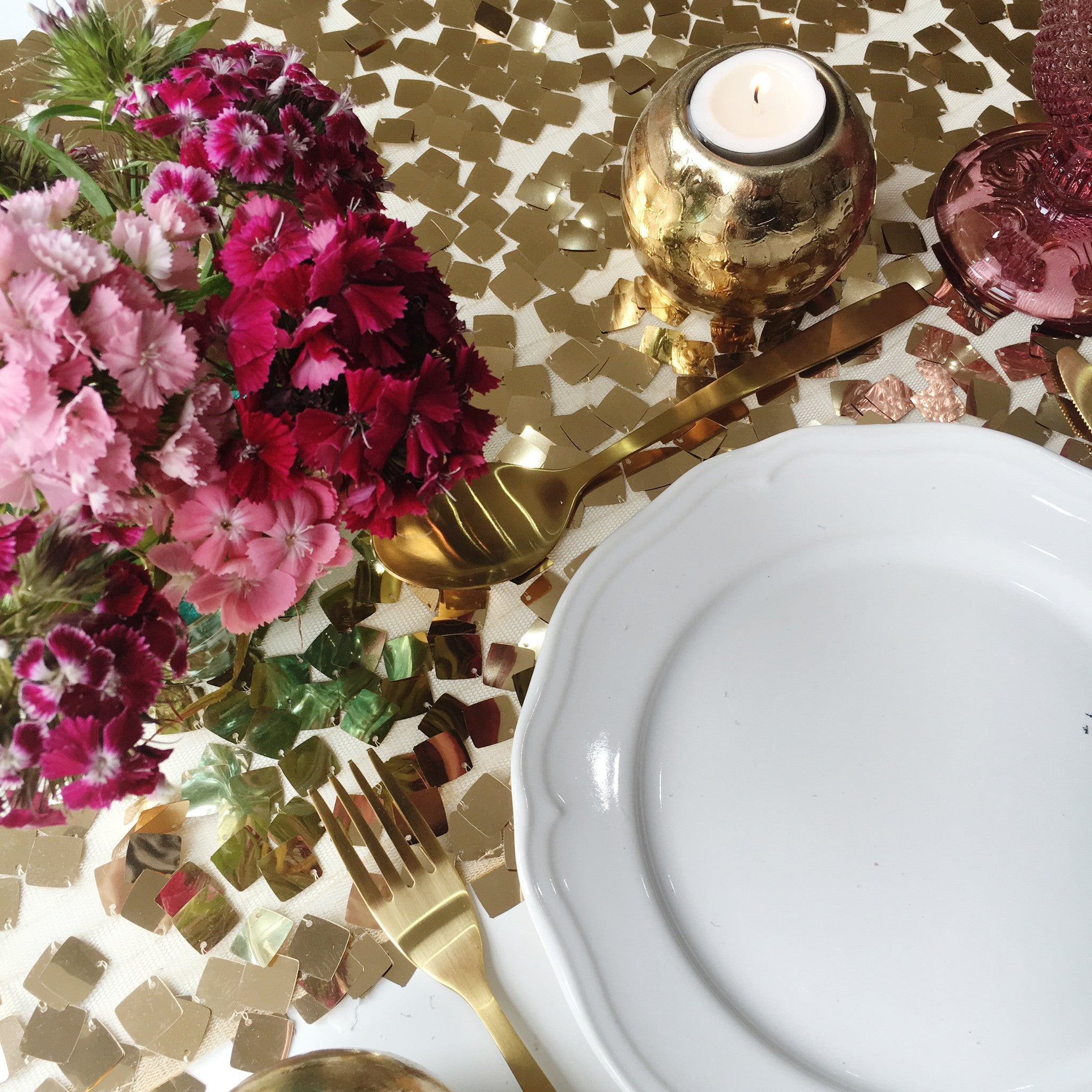 Antique Gold Chip Sequin Table Linen - The Sweet Hostess