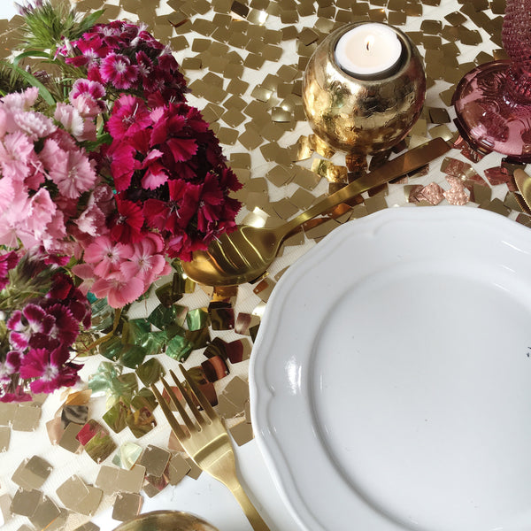 Antique Gold Chip Sequin Table Linen