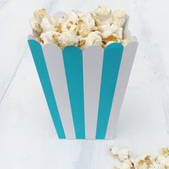 Aqua Blue Stripe Popcorn Boxes - The Sweet Hostess