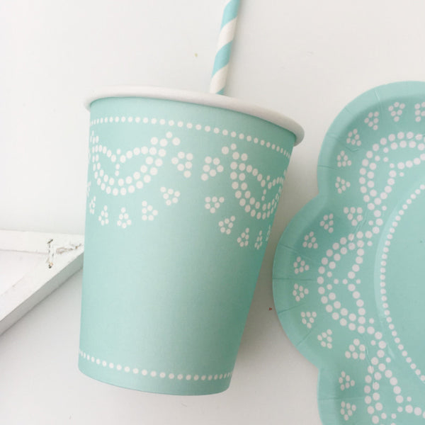 Tiffany Blue Lace Party Cups