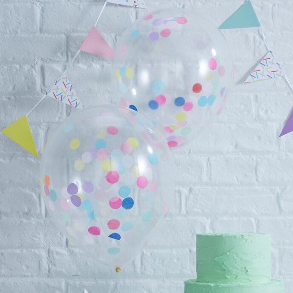 Mixed Coloured Confetti Filled Balloons