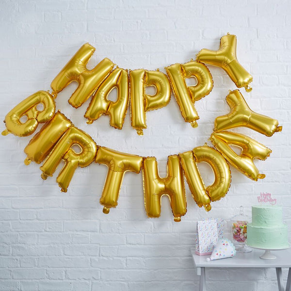 Gold Happy Birthday Balloon Bunting