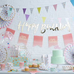 Gold Happy Birthday Banner - The Sweet Hostess  - 2