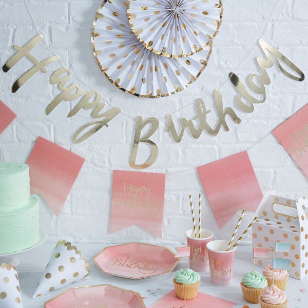Gold Happy Birthday Banner - The Sweet Hostess  - 1