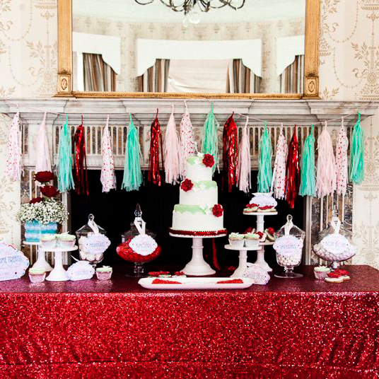 Berry Red Sequin Table Linen