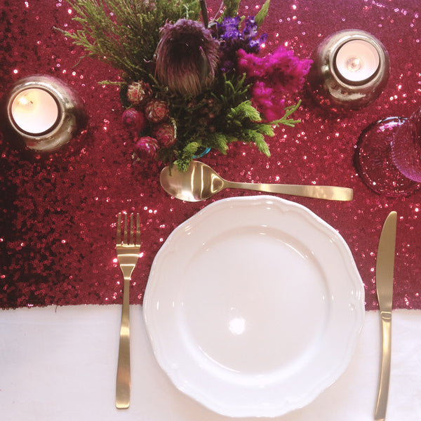 Berry Red Sequin Table Runner