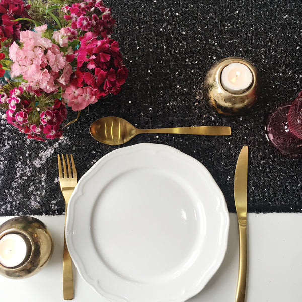 Black Sequin Table Runner