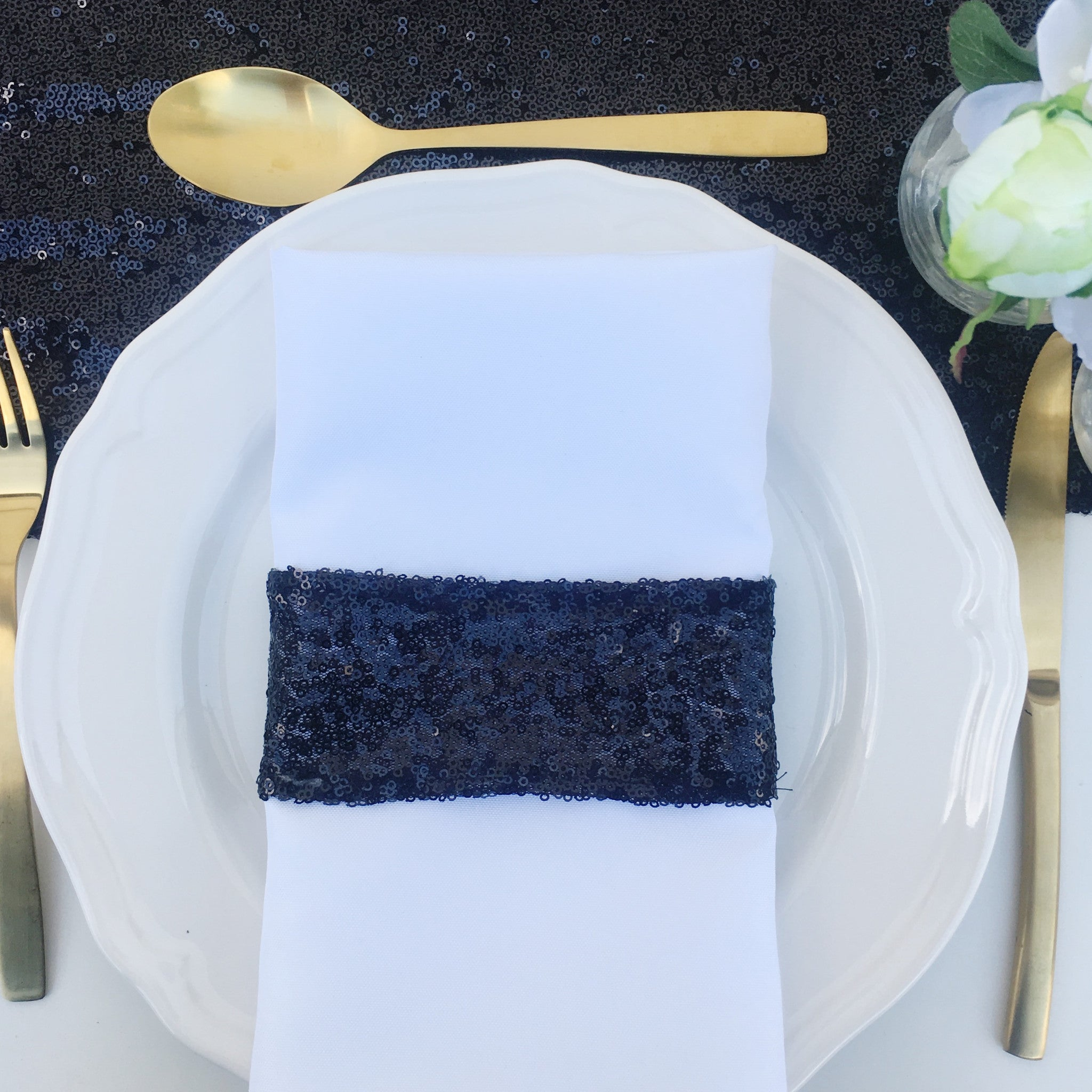 Black Sequin Napkin Holder - The Sweet Hostess