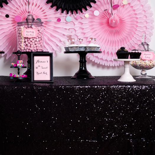 Black Sequin Table Linen