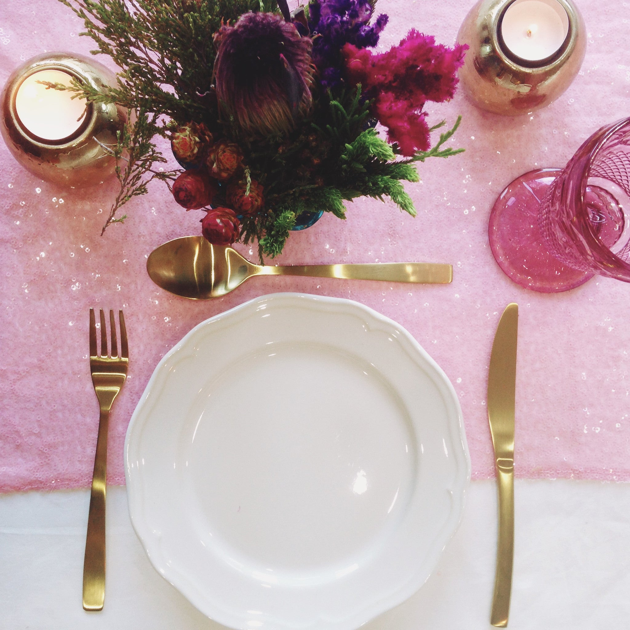 Pink Blush Sequin Table Linen - The Sweet Hostess