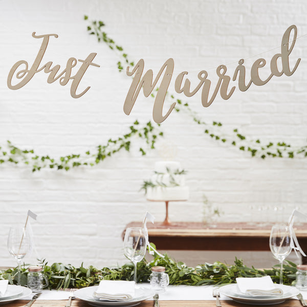 Wooden Just Married Script Bunting