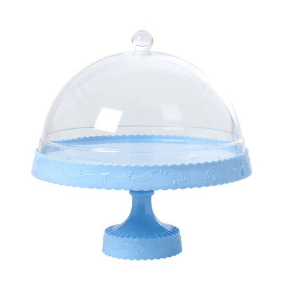 Light Blue Cake Stand & Dome