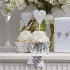 Silver Heart Cake Toppers - The Sweet Hostess  - 2