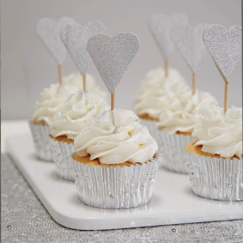 Silver Heart Cake Toppers - The Sweet Hostess  - 1