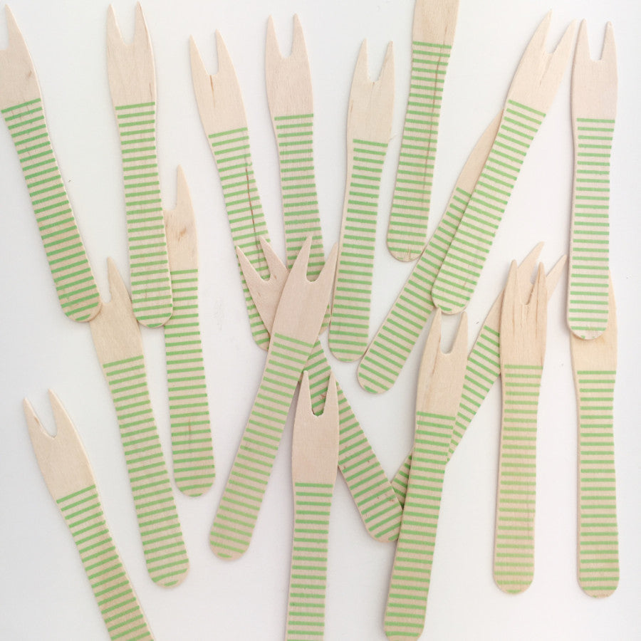Green stripe canap forks 50 pack the sweet party shop for Canape forks