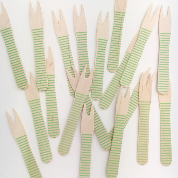 Green Stripe Canapé Forks 50 Pack