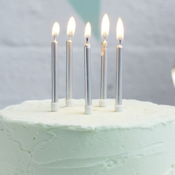 Silver Birthday Candles 24 Pack