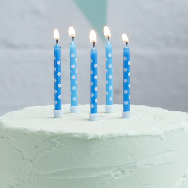 Blue Polka Dot Birthday Candles 24 Pack