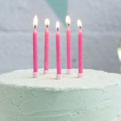 Pink Glitter Birthday Candles 24 Pack - The Sweet Hostess  - 1