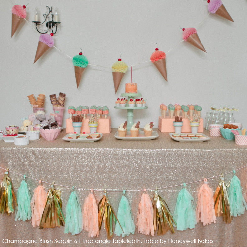 Champagne Blush Sequin Table Linen - The Sweet Hostess  - 1
