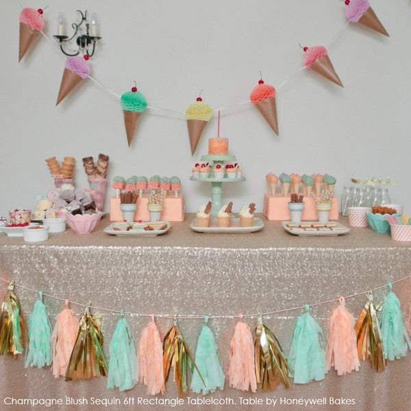 Champagne Blush Sequin Table Linen