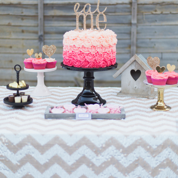 Champagne Chevron Sequin Table Linen