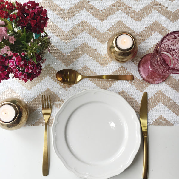 Champagne Blush Chevron Sequin Table Runner
