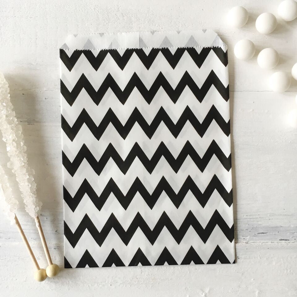 Black Chevron Paper Bags - The Sweet Hostess