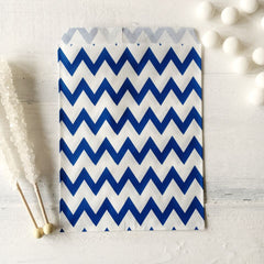 Blue Chevron Paper Bags - The Sweet Hostess