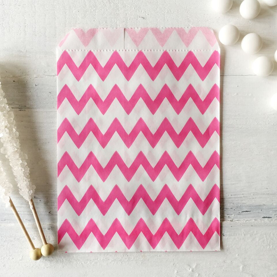 Dark Pink Chevron Paper Bags - The Sweet Hostess