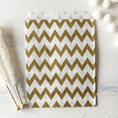 Gold Chevron Paper Bags - The Sweet Hostess