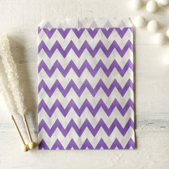 Lavender Chevron Paper Bags - The Sweet Hostess