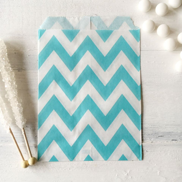 Light Blue Chevron Paper Bags
