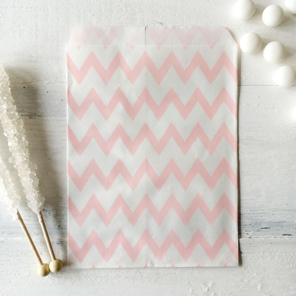 Light Pink Chevron Paper Bags - The Sweet Hostess