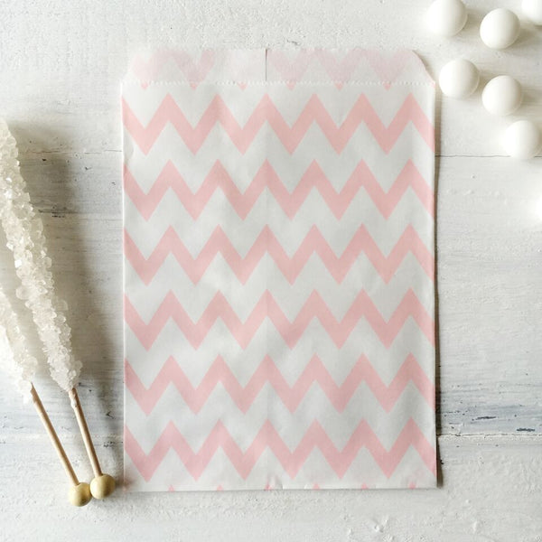 Light Pink Chevron Paper Bags