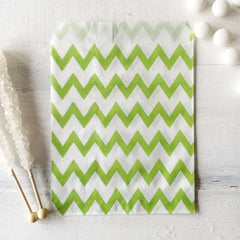 Lime Chevron Paper Bags - The Sweet Hostess