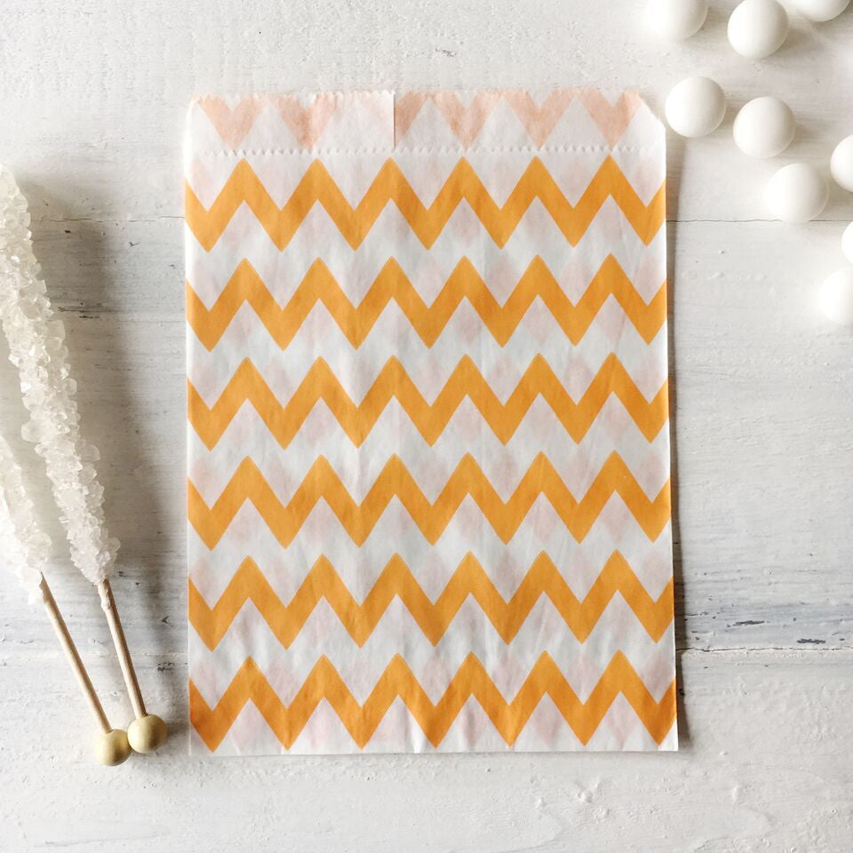 15% OFF - Orange Chevron Paper Bags - The Sweet Hostess