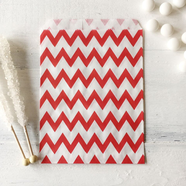 Red Chevron Paper Bags