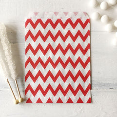 Red Chevron Paper Bags - The Sweet Hostess