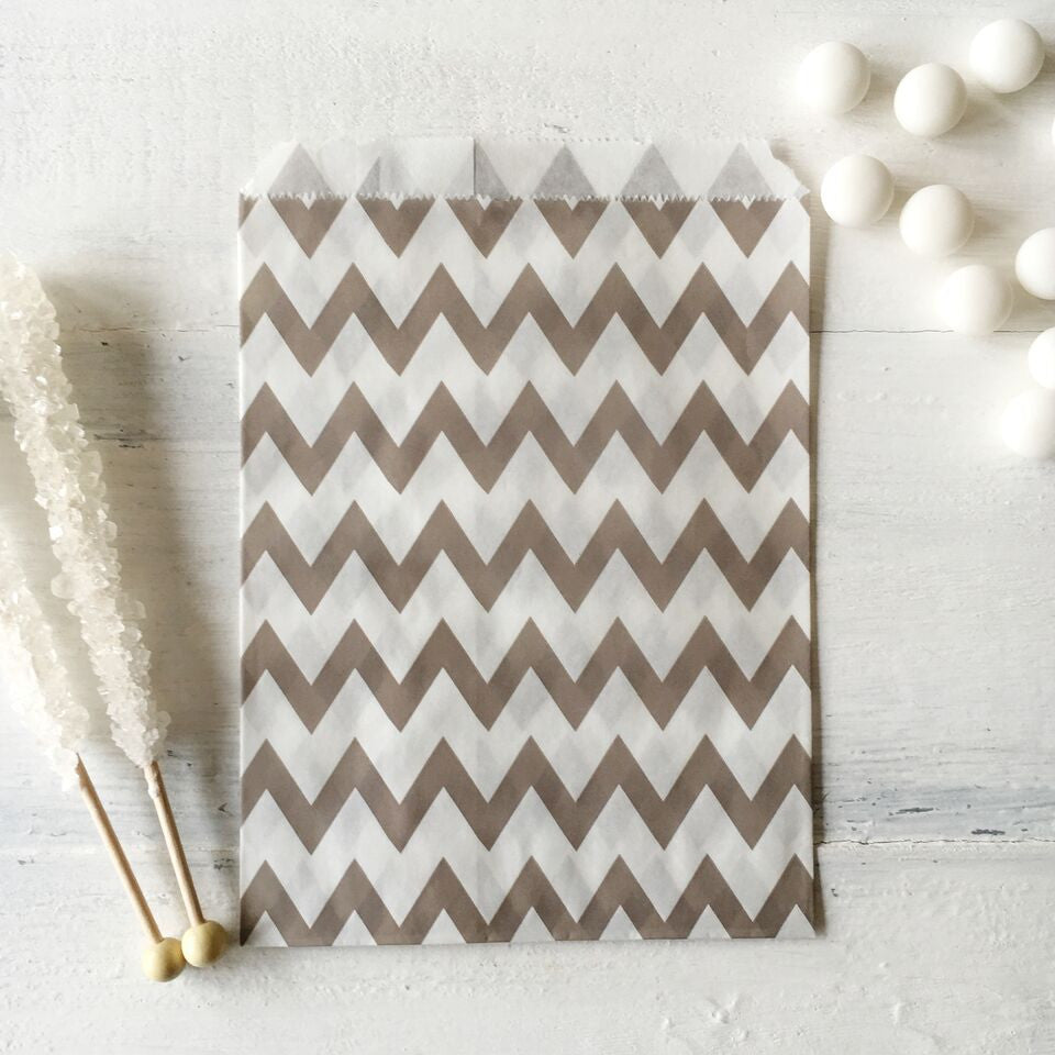 Grey Chevron Paper Bags - The Sweet Hostess