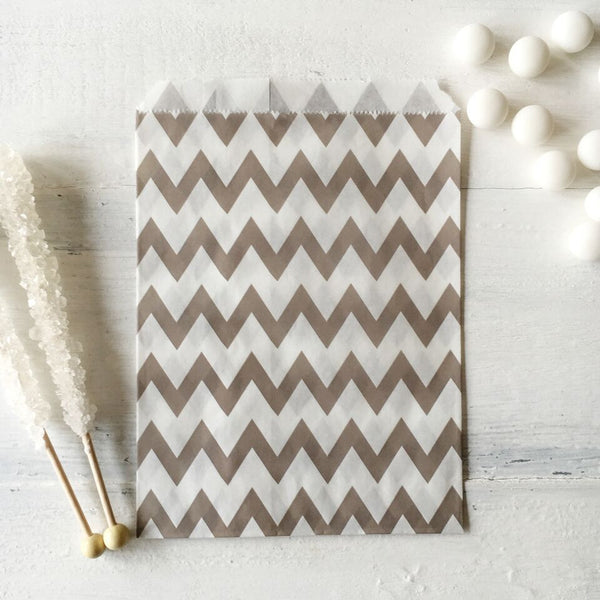 Grey Chevron Paper Bags