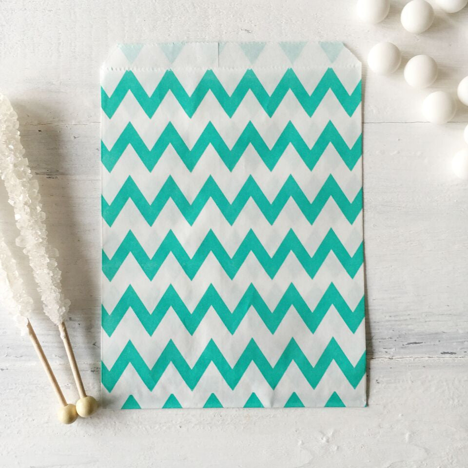 Teal Chevron Paper Bags - The Sweet Hostess